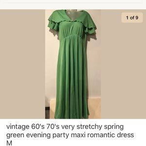 Dresses & Skirts - Vintage 70's green maxi gown romantic dress M